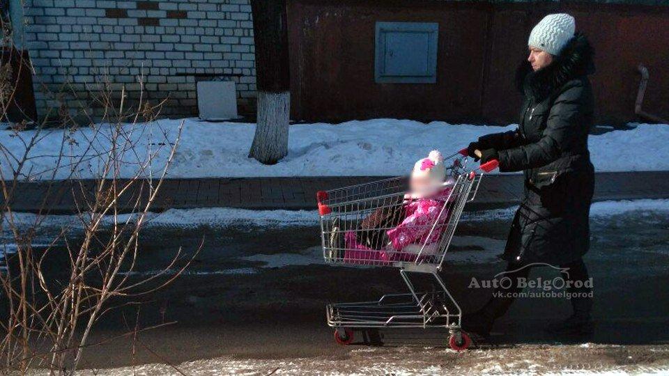 Белгородка катала ребёнка по улицам в продуктовой тележке, фото-1
