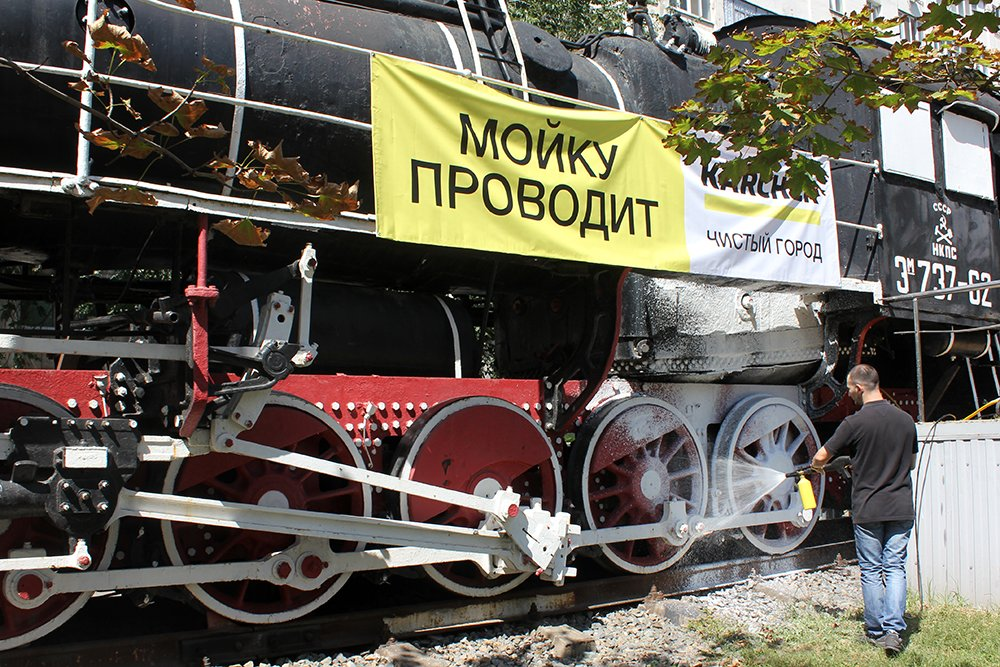 В Белгороде специалисты Керхер Центра очистили паровоз-музей РЖД, фото-5