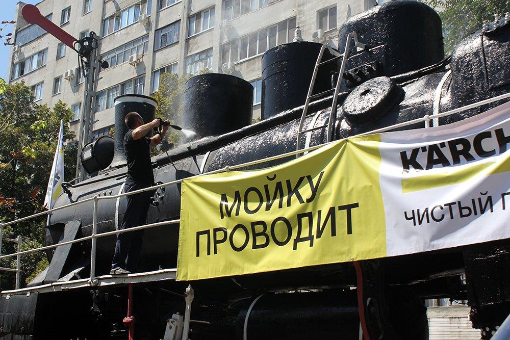 В Белгороде специалисты Керхер Центра очистили паровоз-музей РЖД, фото-2