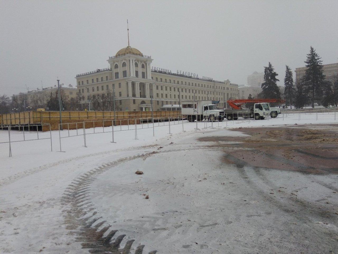 На Соборной площади Белгорода устанавливают новогоднюю ёлку , фото-5