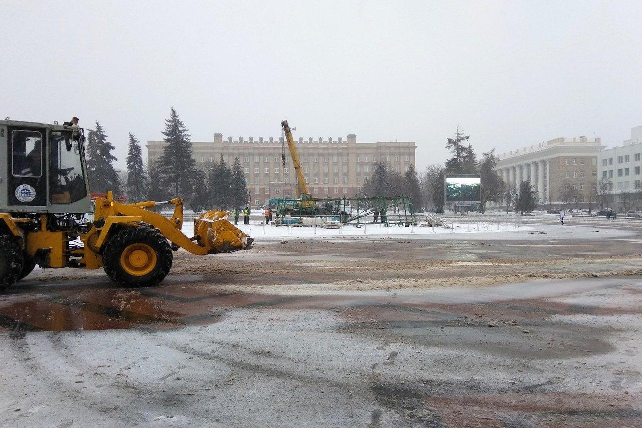 На Соборной площади Белгорода устанавливают новогоднюю ёлку , фото-3