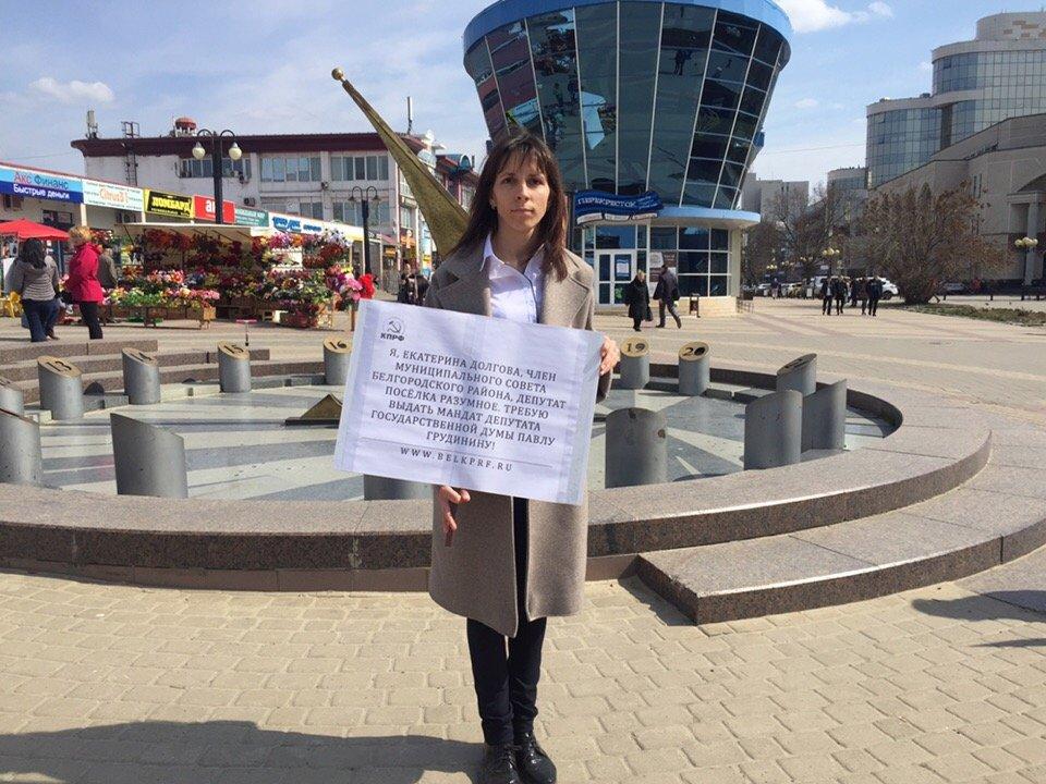 Белгородские депутаты вышли на пикет в защиту Павла Грудинина, фото-5, Фото Дарьи Клоповской