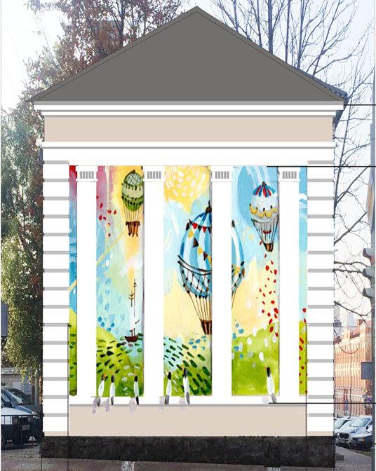 Аэростаты, Гагарин, цветы. В центре Белгорода на жилых домах нарисуют цветные картинки, фото-1