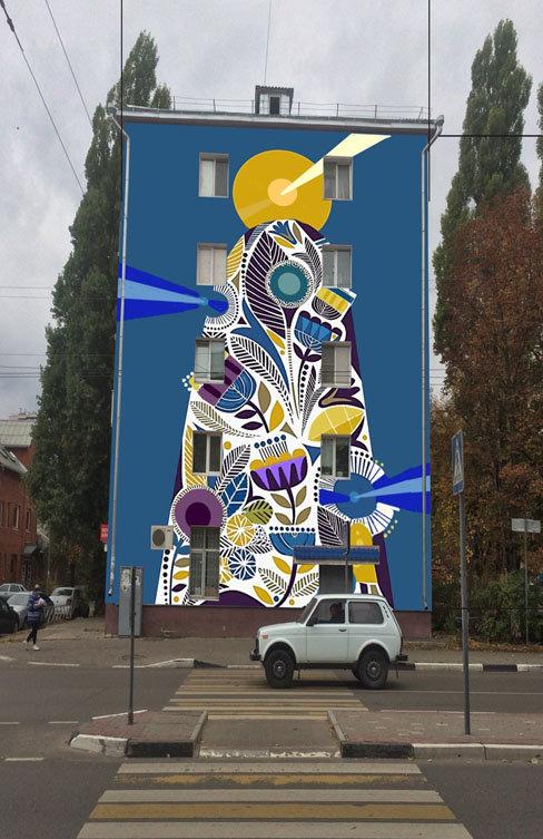 Аэростаты, Гагарин, цветы. В центре Белгорода на жилых домах нарисуют цветные картинки, фото-3