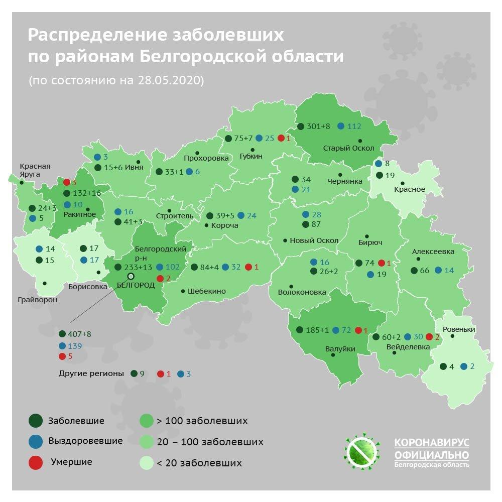 В каких районах Белгородской области добавилось пациентов с CoViD-19, фото-1