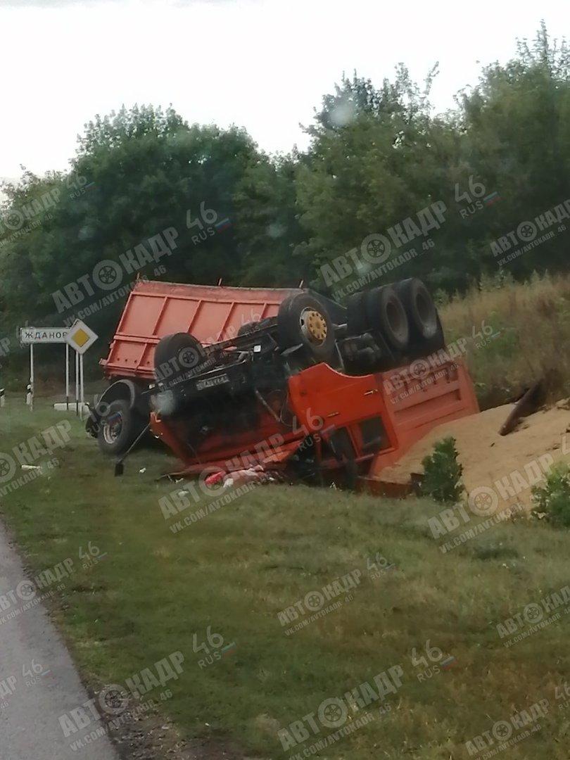 КамАЗ переехал лошадь и перевернулся под Курском, фото-4