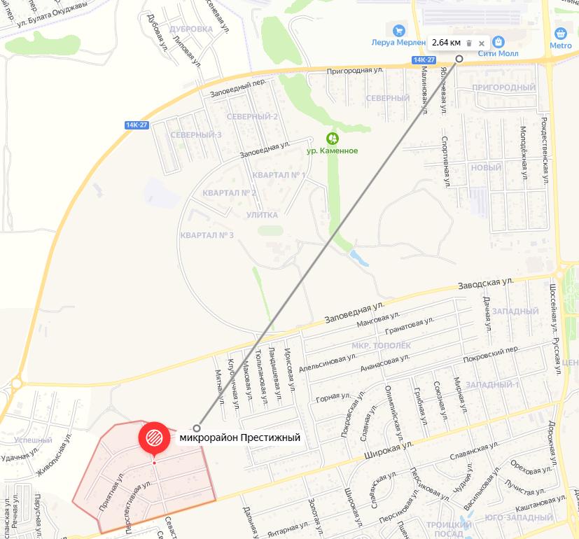 Расстояние до Белгорода напрямую